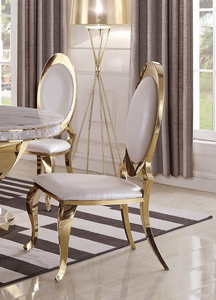 2 Coaster Furniture Kendall Cream White Gold Dining Chairs CST-190382