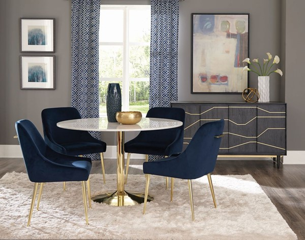 Coaster Furniture Steele Natural Blue Gold 5pc Dining Room Set CST-19042-DR-S1