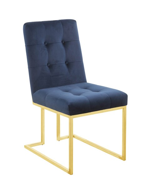 2 Coaster Furniture Evianna Blue Gold Dining Chairs CST-190546