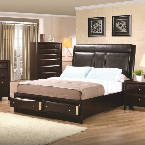 Phoenix Transitional Cappuccino Wood Cal King Bed CST-200419KW