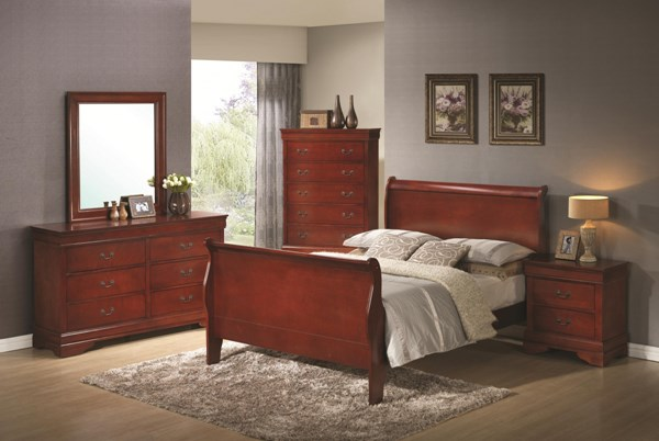 Louis Philippe Classic Red Brown Wood 2pc Bedroom Set W/King Bed CST-20043-S1