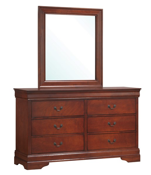 Louis Philippe Classic Red Brown Wood Dresser & Mirror CST-200433-200434