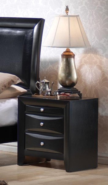 Briana Transitional Black Wood Night Stand CST-200702