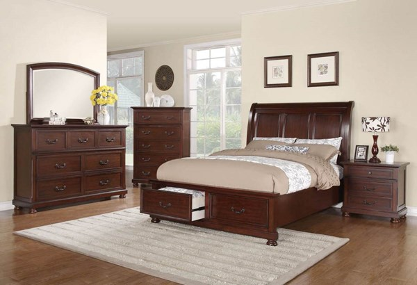 Hannah Casual Brown Cherry Wood Sleigh Beds CST-G200833-Beds