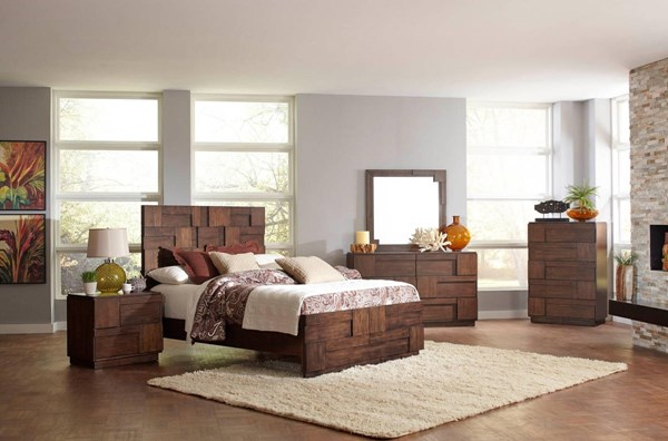 Gallagher Retro Golden Brown Acacia Veneer Master Bedroom Set CST-20085-BR
