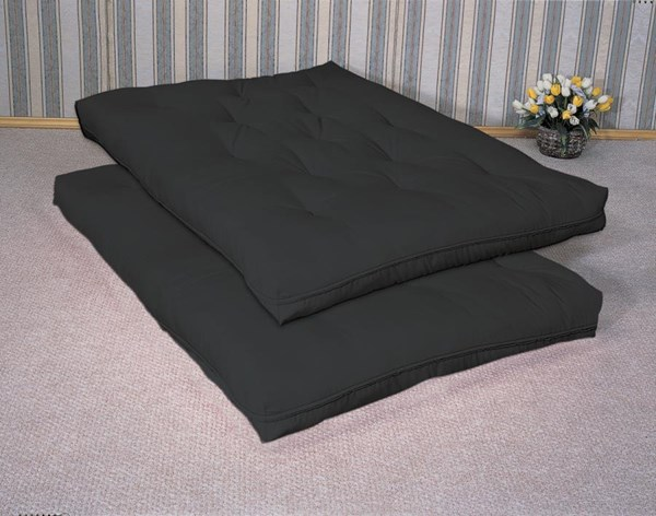 Black Fabric Deluxe Innerspring Futon Pad CST-2005IS