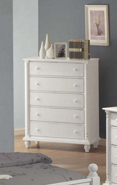Kayla Transitional White Wood Drawer Chest W/Round Knobs CST-201185