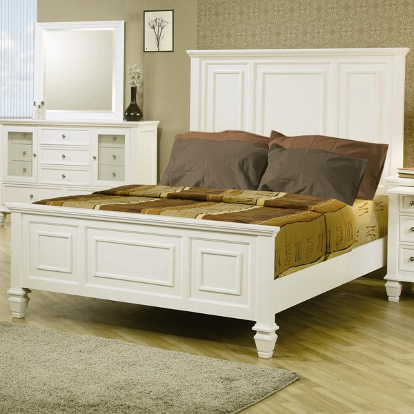 Sandy Beach Casual White Wood Panel Cal King CST-201301KW