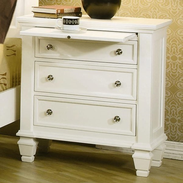Sandy Beach Casual White Wood Night Stand CST-201302