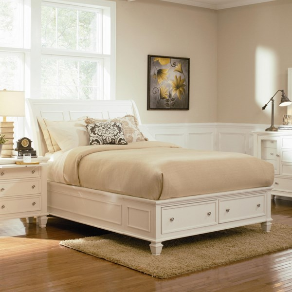Sandy Beach Country White Wood Cal King Bed w/Drawer Storage CST-201309KW