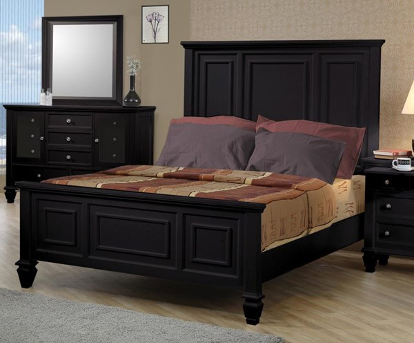 Sandy Beach Casual Black Wood Panel Queen Bed CST-201321Q