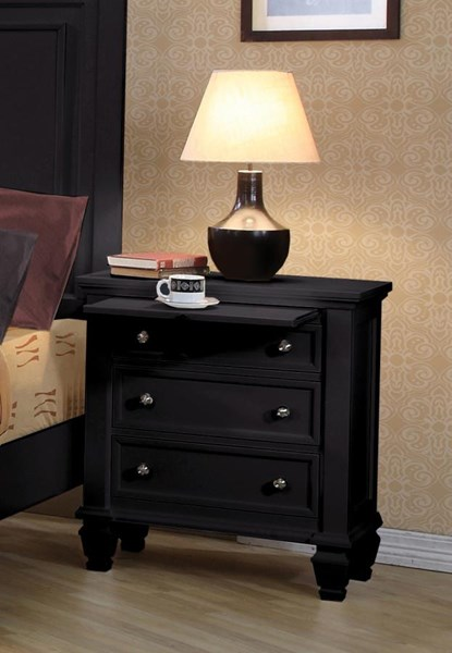 Sandy Beach Casual Black Wood Night Stand CST-201322