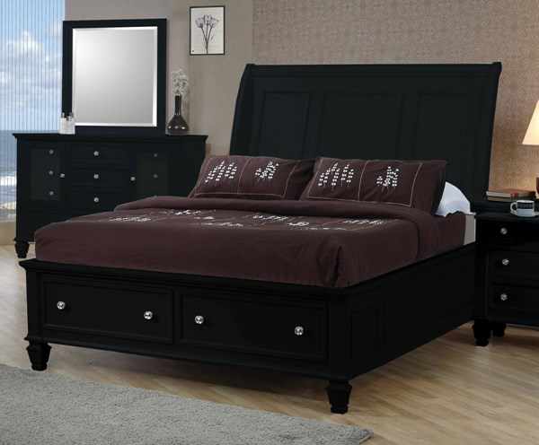 Sandy Beach Country Black Wood Storage Cal King Bed CST-201329KW