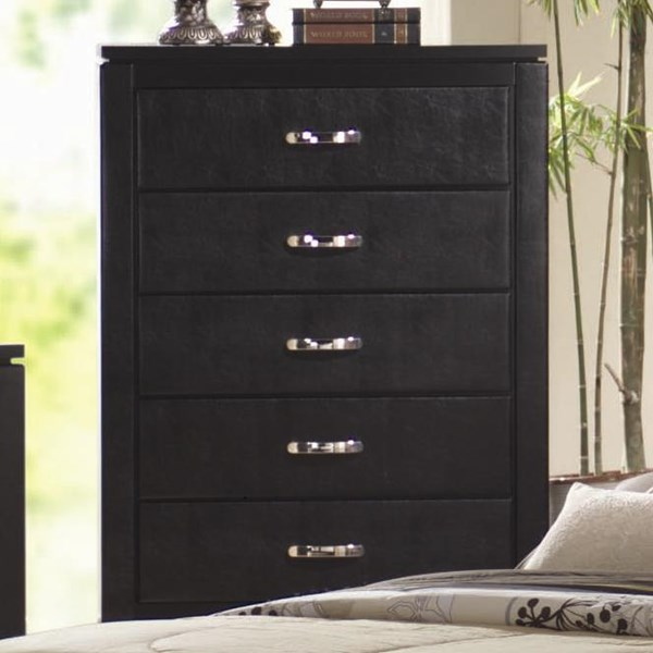 Dylan Transitional Black Wood Handles Chest CST-201405