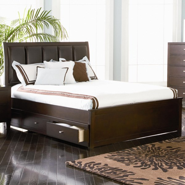 Lorretta Transitional Cappuccino Wood Beds W/Storage CST-201511KE-S-VAR