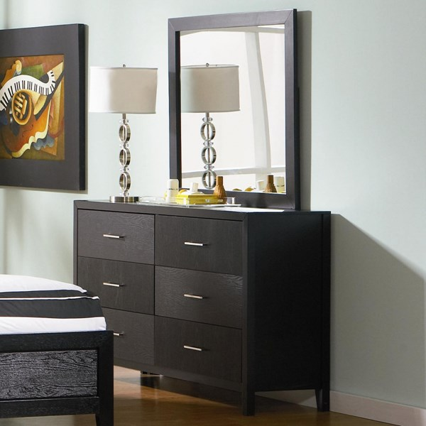 Grove Casual Black Wood Dresser & Mirror CST-201653-201654