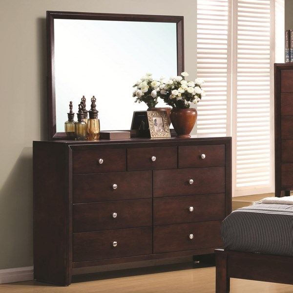 Serenity Transitional Merlot Wood Drawer Dresser CST-201973