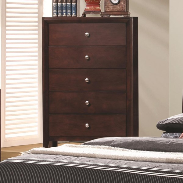 Serenity Transitional Merlot Wood Drawer Chest CST-201975