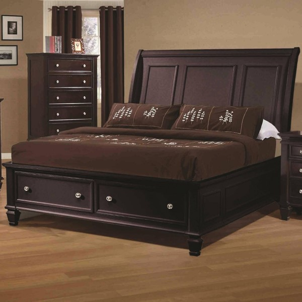 Sandy Beach Country Cappuccino Cal King Bed w/Footboard Drawer Storage CST-201990KW