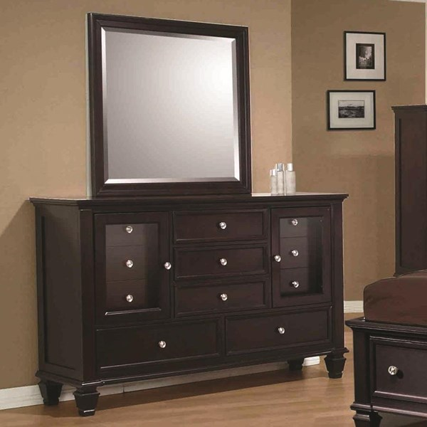 Coaster Furniture Sandy Beach Cappuccino Dresser and Mirror CST-201993-4