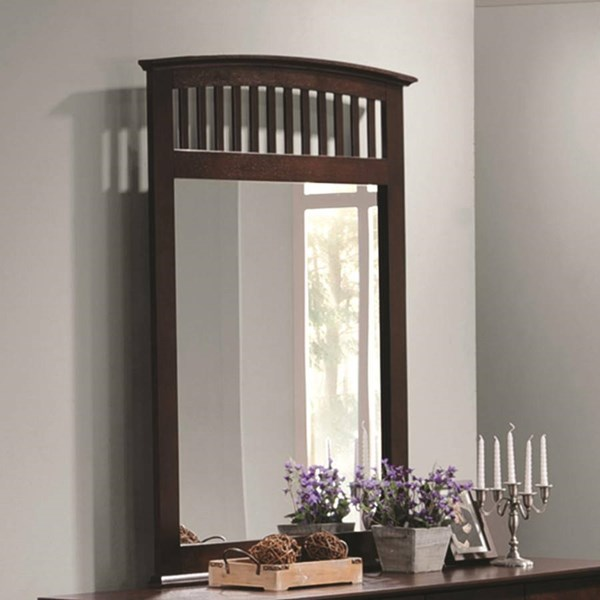 Tia Transitional Cappuccino Wood Glass Mirror CST-202084