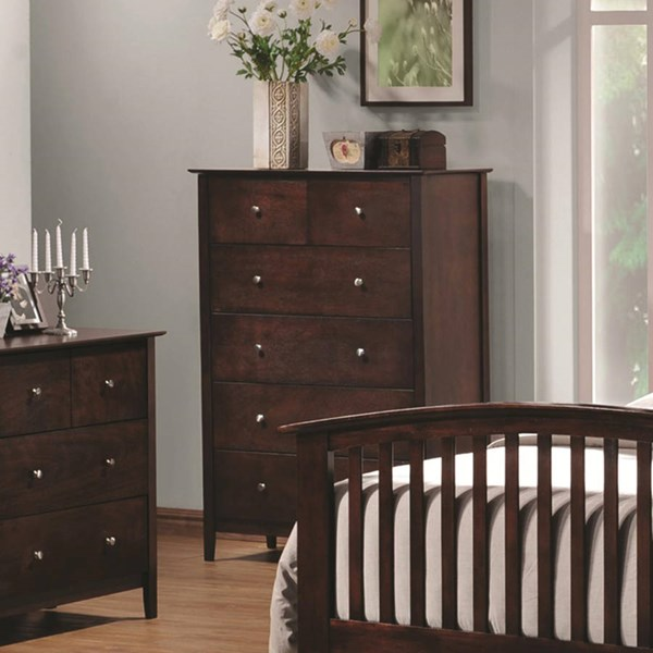 Tia Transitional Cappuccino Wood Drawer Chest CST-202085