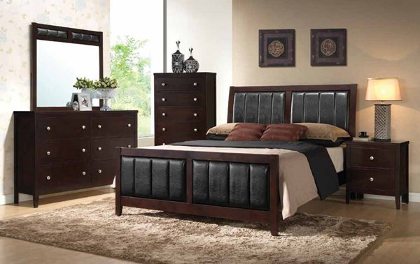 Carlton Transitional Cappuccino Wood 2pc Bedroom Set W/Cal King Bed CST-202091-BR-S3