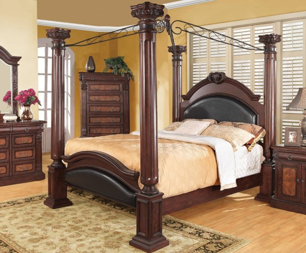 Grand Prado Traditional Cappuccino Wood Metal Queen Bed CST-202201Q