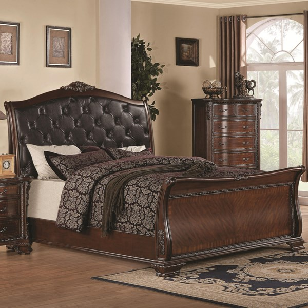 Maddison Traditional Cappuccino Wood Faux Leather Beds CST-202261-BEDS