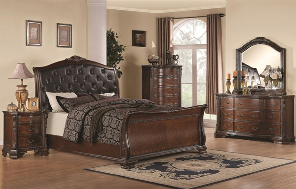 Maddison Traditional Cappuccino Wood 2pc Bedroom Sets CST-202261-BR-S