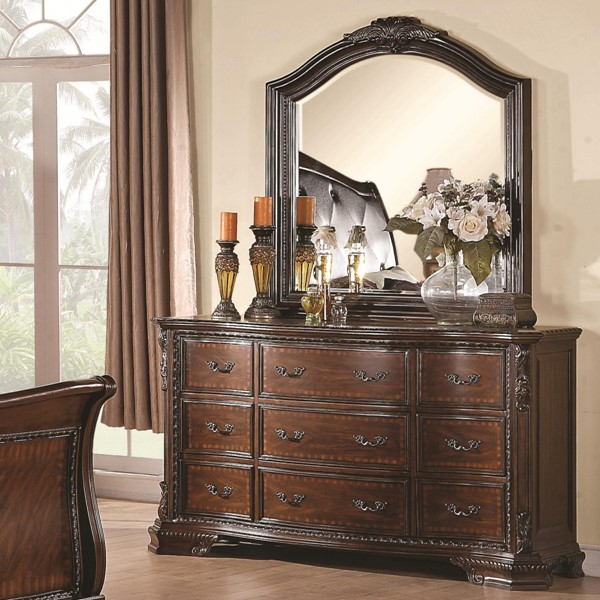 Maddison Traditional Cappuccino Wood Dresser & Mirror CST-202263-64