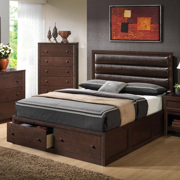 Remington Transitional Cappuccino Wood Queen Bed CST-202311Q