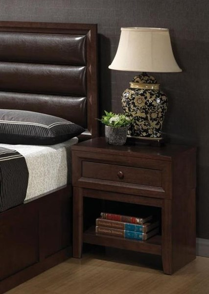 Remington Transitional Cappuccino Wood Night Stand CST-202312