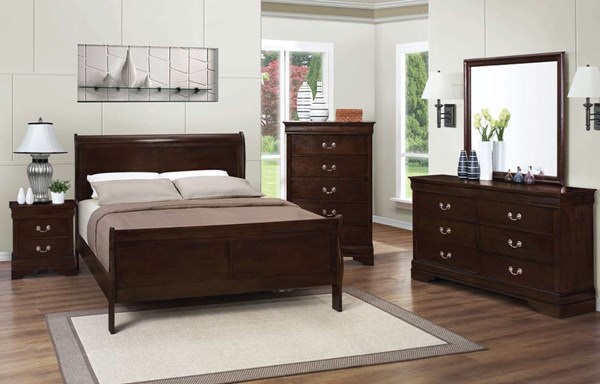 Louis Philippe Classic Cappuccino Bedroom Set CST-202411-BD