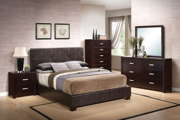 Andreas Cappuccino Wood Glass Faux Leather 5pc Bedroom Set W/Queen Bed CST-202470-BR-S1