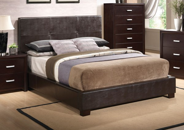 Andreas Transitional Cappuccino Wood Faux Leather Low Profile Beds CST-202470-BEDS-VAR