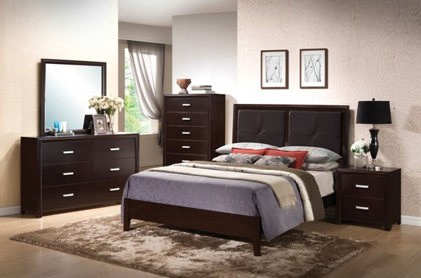 Andreas Cappuccino Wood Faux Leather 5pc Bedroom Set w/King Bed CST-202471-BR-S2