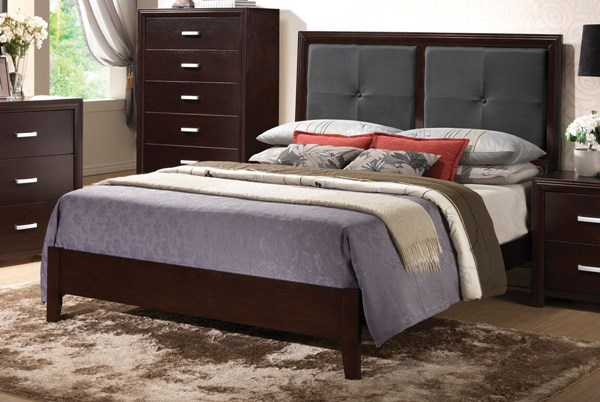 Andreas Transitional Cappuccino Wood Faux Leather Queen Platform Bed CST-202471QN
