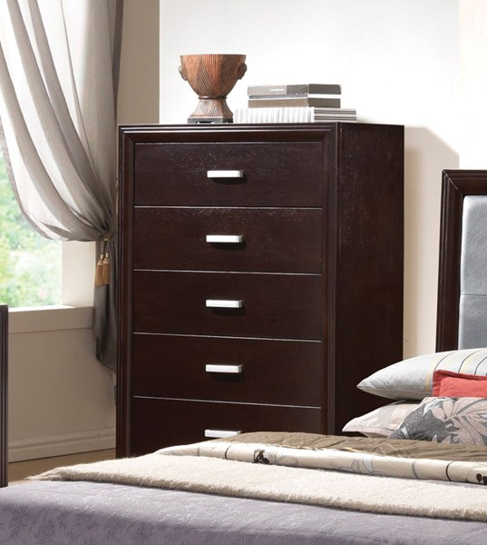 Andreas Casual Cappuccino Wood Handles Drawer Chest CST-202475