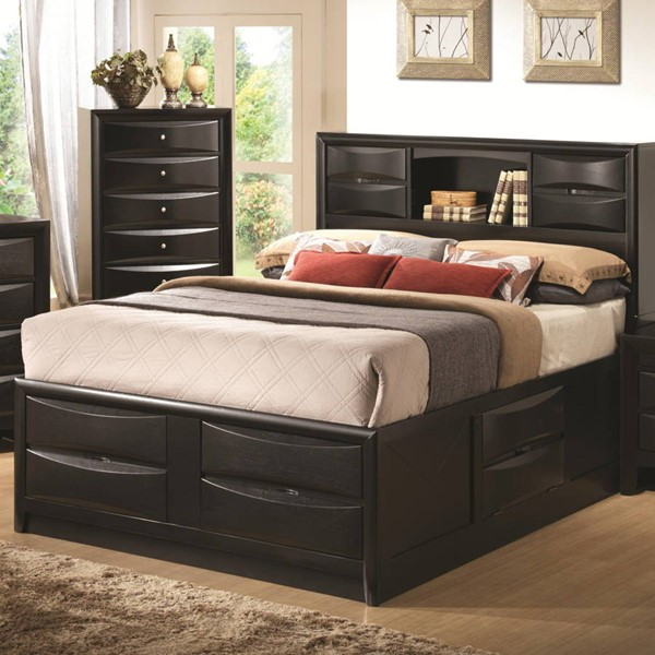 Briana Black Wood Headboard/Footboard/Side Drawer Storage King Bed CST-202701KE