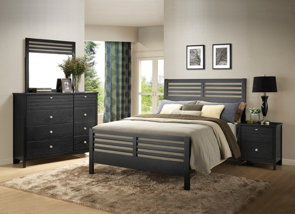 Richmond Transitional Black Wood 5pc Bedroom Sets CST-202721-BR-S