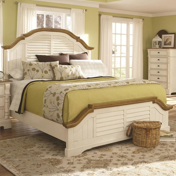 Oleta Cottage Buttermilk Brown Wood Cal King Bed CST-202880KW
