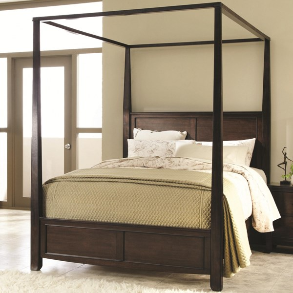Ingram Transitional Brown Wooden Box Foundation Queen Size Canopy Bed CST-202931Q