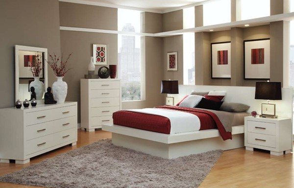 Jessica Contemporary White Wood Bedroom Set CST-202990-BD