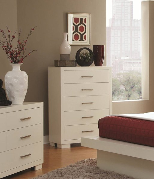 Jessica Contemporary White Wood Drawer Chest CST-202995
