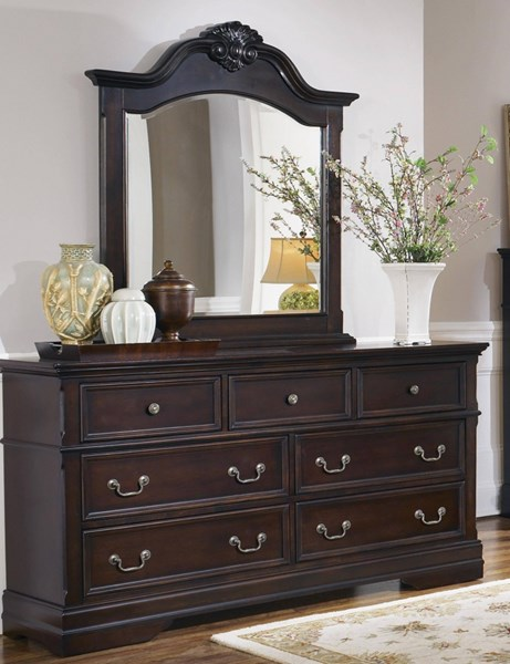 Cambridge Traditional Cappuccino Wood Dresser & Mirror CST-203193-94