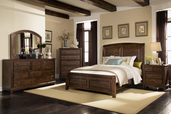 Laughton Rustic Cocoa Brown Wood Master Bedroom Set CST-203260-BR