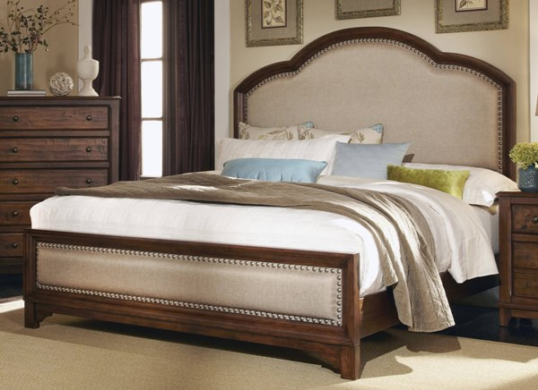 Laughton Rustic Cocoa Brown Upholstered Headboard Queen Bed CST-203261Q
