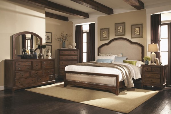 Laughton Rustic Cocoa Brown Upholstered Headboard Master Bedroom Set CST-203261-BR