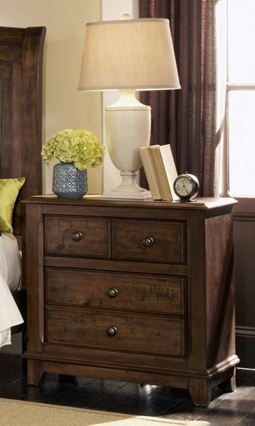 Laughton Rustic Cocoa Brown Wood Night Stand CST-203262